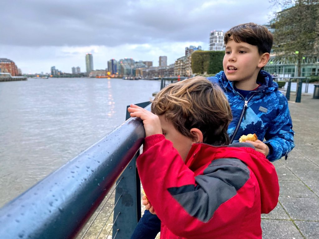 Battersea Reach by the River Thames, cycle routes with kids, in South West London